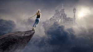 woman jumping from a cliff