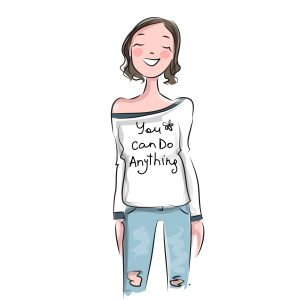 Girl with t-shirt saying you can do everything